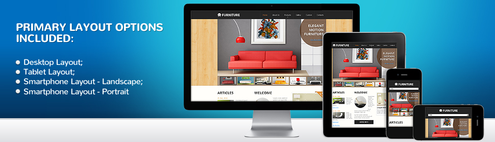 One website design layout suits all digital devices, desktops, iphones and ipads